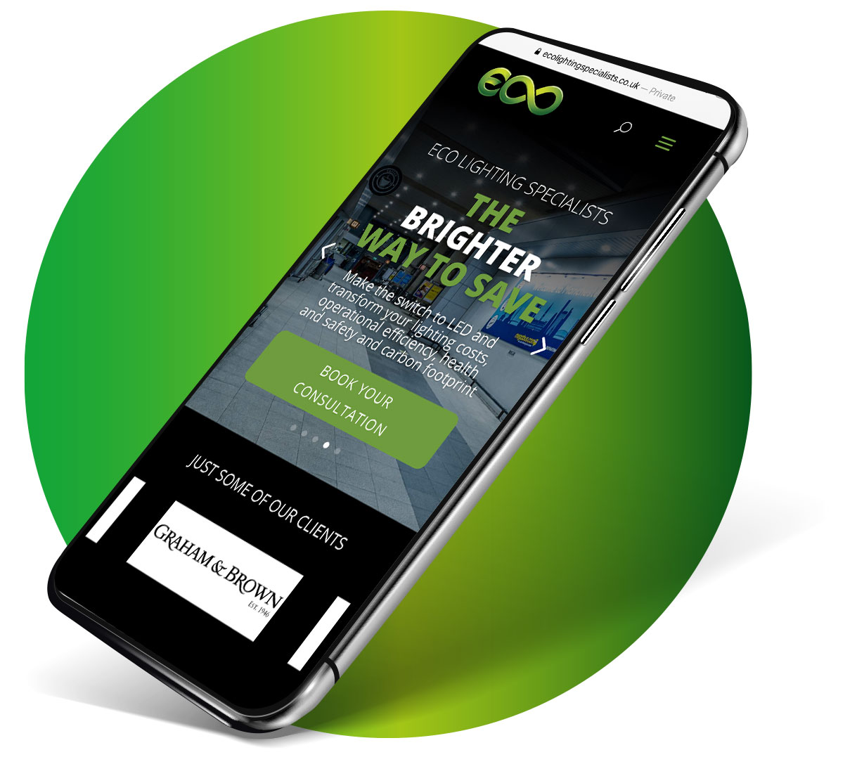 Eco website mobile mockup